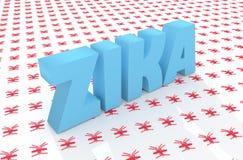 Texto do desease de Zika no contexto do teste padrão do mosquito Imagens de Stock