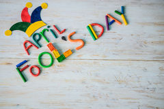 Texto do dia do ` de April Fools feito com plasticine Imagem de Stock