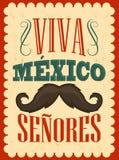 Texto do espanhol dos cavalheiros de Viva Mexico Senores - de Viva Mexico Fotos de Stock Royalty Free