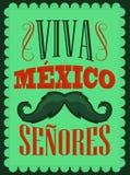 Texto do espanhol dos cavalheiros de Viva Mexico Senores - de Viva Mexico Fotografia de Stock