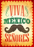 Texto do espanhol dos cavalheiros de Viva Mexico Senores - de Viva Mexico ilustração do vetor