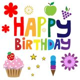 Texto do feliz aniversario Fotos de Stock Royalty Free
