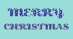 Texto do Feliz Natal com letras engraçadas ilustração stock