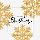 Texto do Feliz Natal com rotulação da mão Fundo w do Natal Fotos de Stock