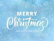 Texto do Feliz Natal e do ano novo feliz Citações dos cumprimentos do feriado Fundo borrado azul com efeito de queda da neve Imagens de Stock
