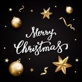 Texto do Feliz Natal no fundo preto Rotulação da mão para o inv Imagem de Stock Royalty Free