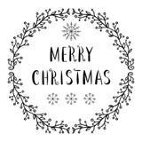 Texto do Feliz Natal - projeto de rotulação com flocos de neve Fotos de Stock