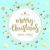 Texto do Feliz Natal Rotulação caligráfica Ano novo e xmas Imagens de Stock Royalty Free