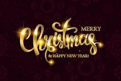 Texto do Feliz Natal do vetor com elementos do brilho Fotos de Stock