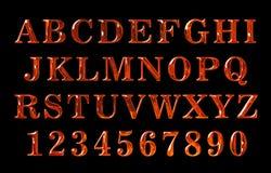 Texto do fogo Alfabeto do fogo texto encarnado Fotos de Stock