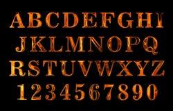 Texto do fogo Alfabeto do fogo texto encarnado do metal Fotos de Stock