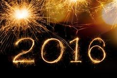 Texto 2016 do fogo de artifício da faísca Foto de Stock Royalty Free