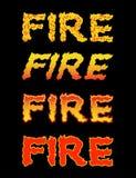 Texto do fogo Tipografia da chama Letras ardentes rotulação impetuosa Imagem de Stock