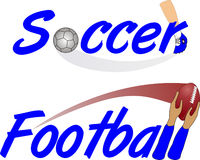 Texto do futebol e do futebol Imagem de Stock