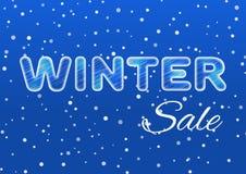 Texto do gelo da venda do inverno em um fundo azul com uma neve de queda Tema da venda e do disconto Ilustração do vetor Fotografia de Stock Royalty Free