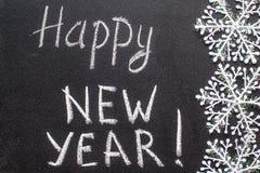 Texto do giz do ano novo feliz 2016 no quadro-negro Fotos de Stock Royalty Free