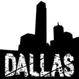 Texto do grunge de Dallas com skyline ilustração royalty free