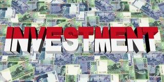 Texto do investimento com a bandeira indonésia na ilustração da moeda Ilustração Stock