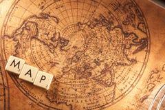 Texto do mapa em um mapa do mundo Foto de Stock Royalty Free