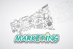 Texto do mercado, com ideia criativa do plano da estratégia do sucesso comercial das cartas e dos gráficos do desenho, tem do pro fotografia de stock