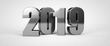 texto do metal do ano 2019 novo isolado no branco 3d rendem ilustração royalty free