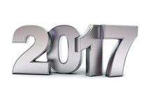 Texto do metal 3D do ano novo feliz 2017 ilustração do vetor