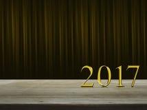 Texto 2017 do metal do ouro do ano novo feliz Fotos de Stock