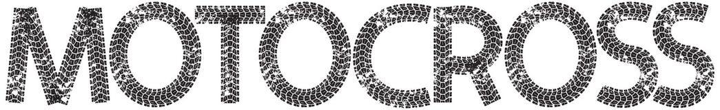 Texto do motocross com as letras feitas das trilhas do pneu da motocicleta Imagens de Stock