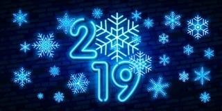 Texto do néon do ano 2019 novo feliz Molde do projeto do ano 2019 novo para insetos e o cartão de cumprimentos sazonais ou Natal  ilustração do vetor