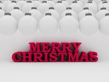 Texto do Natal com bolas brancas Fotografia de Stock Royalty Free
