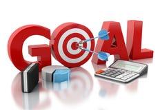 texto do objetivo de negócios 3d e alvo vermelho Imagens de Stock Royalty Free