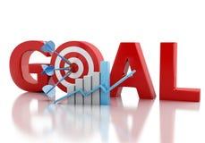 texto do objetivo de negócios 3d e alvo vermelho Fotos de Stock