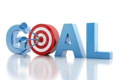 texto do objetivo de negócios 3d e alvo vermelho Foto de Stock Royalty Free