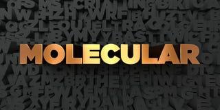 - Texto do ouro no fundo preto - 3D molecular rendeu a imagem conservada em estoque livre dos direitos Ilustração Royalty Free