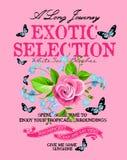 Texto do slogan com arte das flores no fundo cor-de-rosa Ilustração Stock