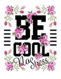 Texto do slogan e com arte das rosas no fundo branco Ilustração Stock