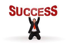 Texto do sucesso da terra arrendada do homem de negócio Imagem de Stock Royalty Free