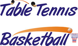 Texto do tênis e do basquetebol de tabela Fotografia de Stock