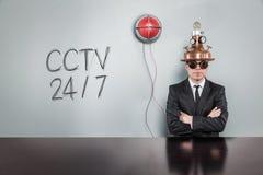 Texto do texto do Cctv 247 com homem de negócios do vintage Imagem de Stock