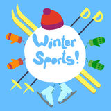 Texto dos esportes de inverno Fotos de Stock Royalty Free