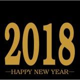 Texto dourado de cumprimento do ano novo feliz 2018 no vetor limpo da planície preta do fundo com espaço ilustração do vetor
