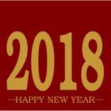 Texto dourado de cumprimento do ano novo feliz 2018 no vetor limpo da planície vermelha vívida do fundo com espaço ilustração do vetor