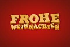 Texto dourado de Frohe Weihnachten em um fundo vermelho Imagem de Stock Royalty Free