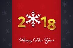 2018 texto dourado do ano novo feliz 3D no fundo vermelho e escuro do Natal com silhuetas do floco de neve ilustração stock