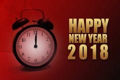 Texto dourado do ano novo feliz 2018 no backgro vermelho do preto do inclinação Imagem de Stock Royalty Free