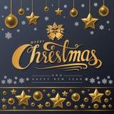 Texto dourado do Feliz Natal no fundo preto Fotografia de Stock Royalty Free