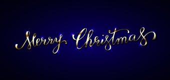 Texto dourado na obscuridade - fundo azul Feliz Natal que rotula f Foto de Stock Royalty Free