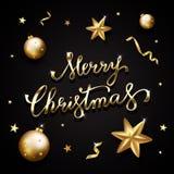 Texto dourado no fundo preto Feliz Natal que rotula para i Foto de Stock