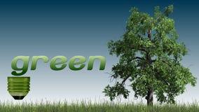 Texto e árvore verdes - conceito da ecologia Imagens de Stock Royalty Free