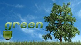 Texto e árvore verdes - conceito da ecologia Foto de Stock